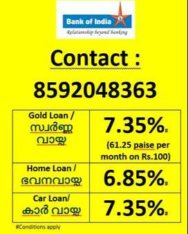 സ്വർണ്ണ വായ്പ / ഭവനവായ്പ / കാർ വായ്പ  Gold loan / Home Loan / Car Loan
