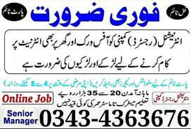 Online Job In Lahore Male, Females, Students and House Wifes