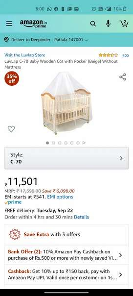 Luv lap baby cot C70 with mosquito net mint conditions