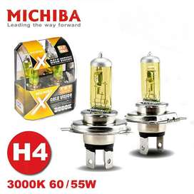 Bohlam Lampu Utama Halogen H4 Michiba Gold Vision