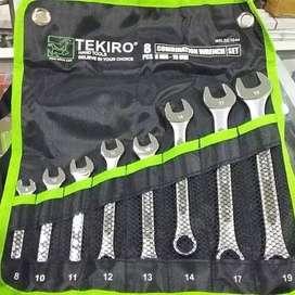 Tekiro kunci ring pas set 8pcs (8-19mm) / combination wrench set ID43