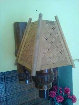 Hiasan dinding lampu kap dari bambu