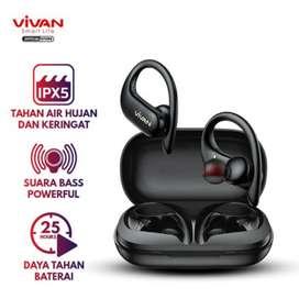 Headset Bluetooth Vivan Sport X TWS Earphone 25H Waterproof Suoer Bass