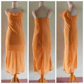 Preloved Dress Cotton On _Chiffon Kuning Kunyit Kombi Lapis Furing S