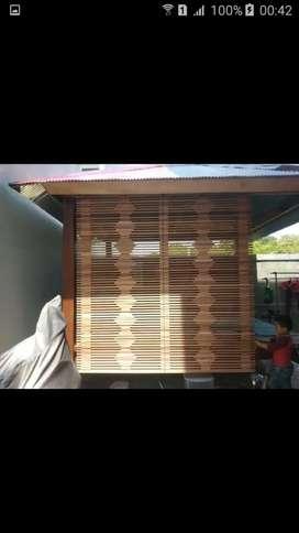Bismillah,tirai bambu,tirai rotan,kayu motif