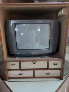 Vintage T.V. Showcase with TV and DVD player