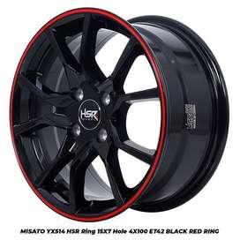velg racing MISATO YX514 HSR R15X7 H4x100 ET42 BK/RED