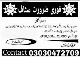Staff required male female and students