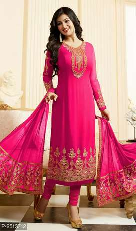 Pink embroidered georgette  dress meterial with dupatta