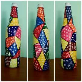 Room decor,  bottle art