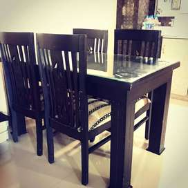 WOODEN DINING TABLE WITH GLASS