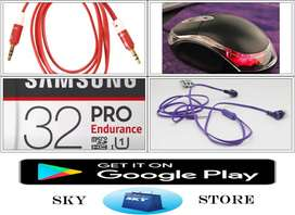 SD Card 32GB, Aux Cable, Mouse, Handfree Package
