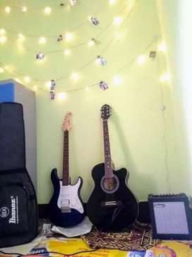 Electric guiter with amplifier