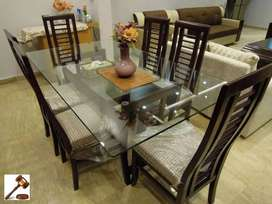 dining table 6 chair with glass