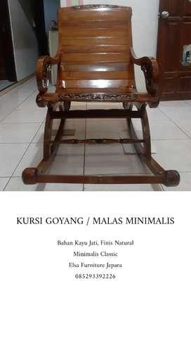 Kursi goyang classic minimalis, kayu jati finis natural, free ongkir