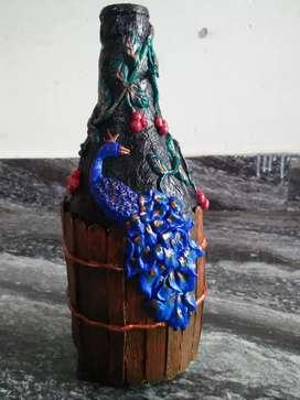 Peacock design bottle art