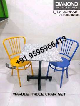 NEW CAFE HOTEL RESTAURANT IMPORTED MARBLE TABLE WITH METAL CHAIRS SET