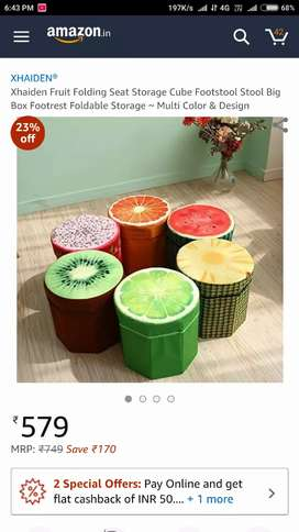 Fruit stool with storage in various fruit forms