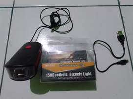 Dijual Lampu + Bell Sepeda Charging USB