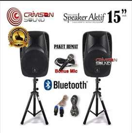 Paket  komplit speaker aktif CRIMSON 15 inch bluetooth