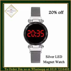 Silver LED Magnet Watch