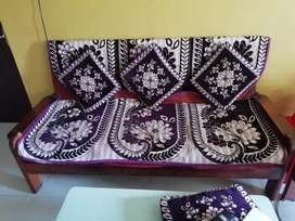 Sofa set with cushion and pillow cover