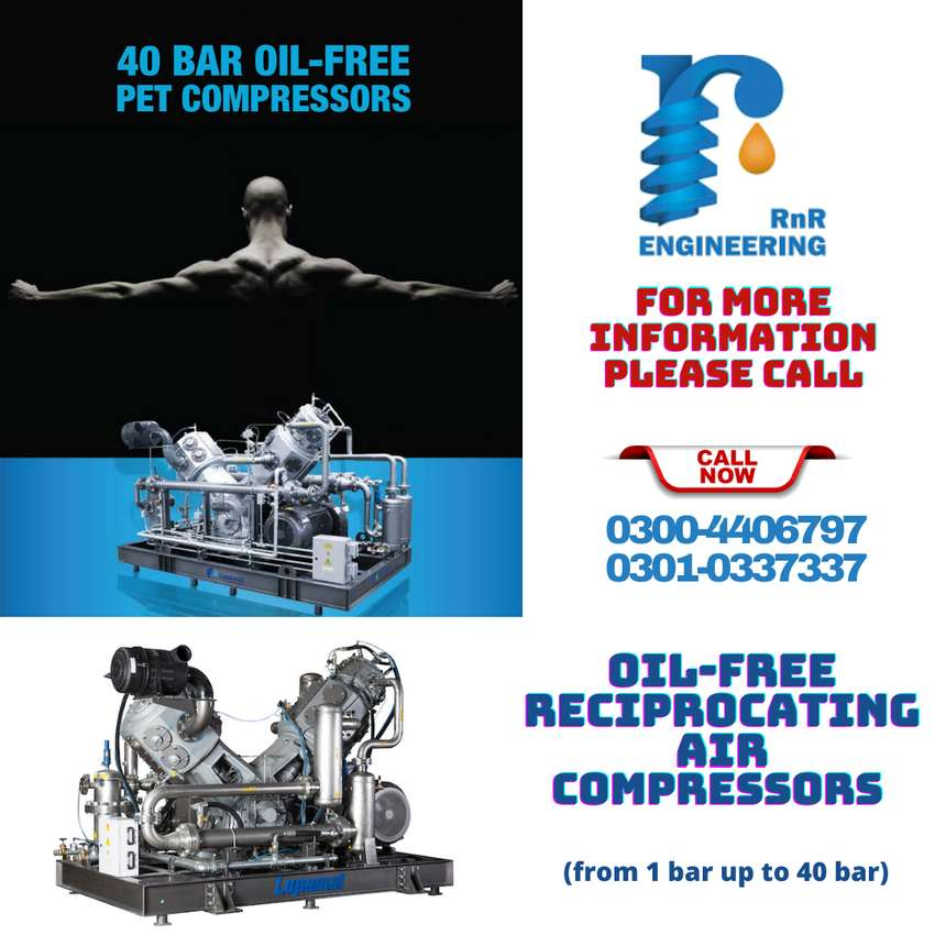 Oil-Free, High Pressure Compressor  Multi-Staged, Water Cooled, V-Type