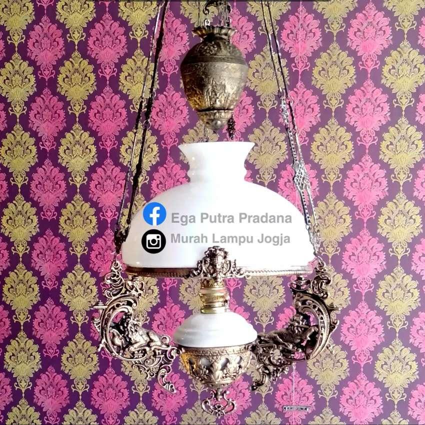 Produksi Lampu Gantung Katrol Antik Motif Singa Hias Joglo Gebyok 0
