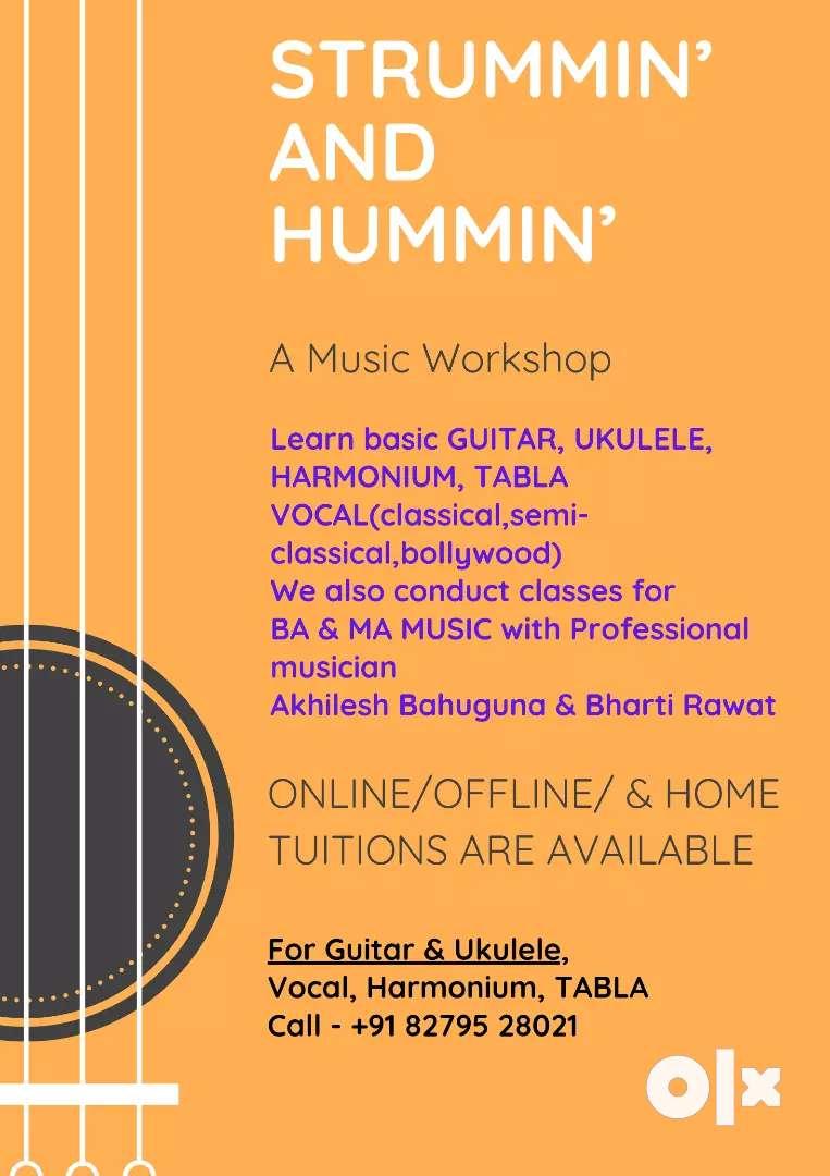 Guitar, Ukulele,vocal, Harmonium,tabla Home classes