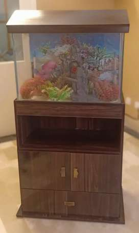 Fish tank with cupboard and all decoration+ stones