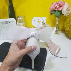Original Insignia White Bow Heel Cute White Bow Heel