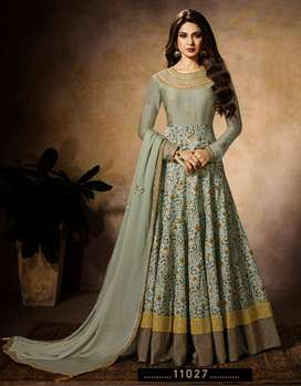 Designer Indian Style Stitched Mint color Traditional Gown