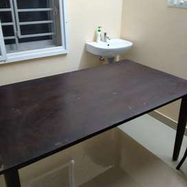 6 seater wooden  dining table without chairs
