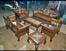 Sofa Tamu Kayu jati natural
