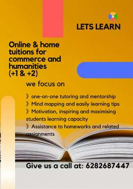 Online and home tuition for commerce and humanities