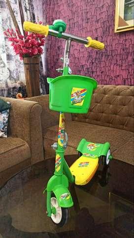 3 Wheel Kids Scooter Cycle - Height Adjustment, Brake, Bell & Basket