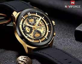 jam tangan original navyforce 3 chrono on black gold mode on