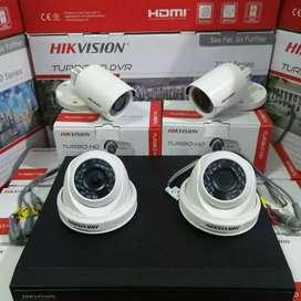 Paket lengkap 4 camera cctv Hikvision 2 Mp Gratis pasang terima beres.