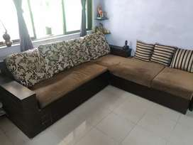 L shape Sofa cum bed with lot of storage space