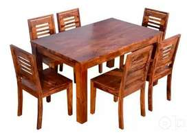Brand New Sheesham Wood Dining Table with 6 Chairs