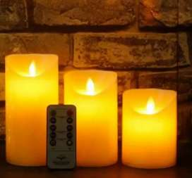 3 pcs led candle set with remote