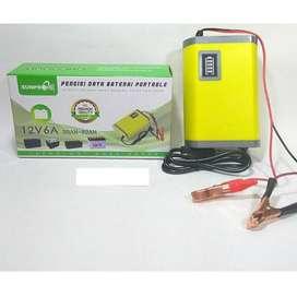 Charger aki mobil motor sunpro pengisi daya baterai portable 12V 6A