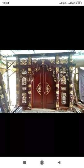 Pintu kusen gebyok kayu jati donka
