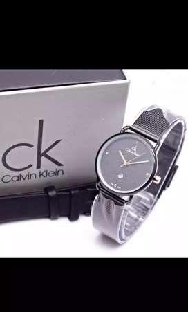 Jam tangan Calvin Klein wanita strap rantai, black color+tanggal aktif