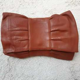Tas import eks fashion coklat kulit asli tebal unik clutch
