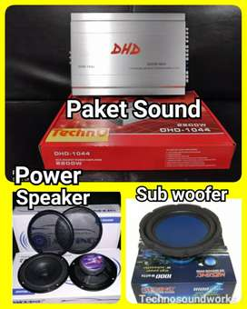 Paket sound DHD speaker power sub woofer for tv kaca mobil
