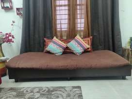 Diwan with storage box +  single mattress - Dark wenge, low design