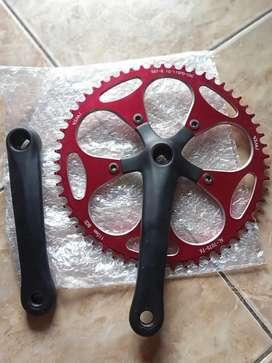 Crank set sepeda lipat 58t kondisi 95%