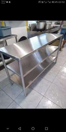 Steel working cutting dressing tables Fastfood pizza