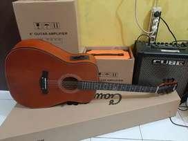 Gitar akustik elektrik jumbow + tas